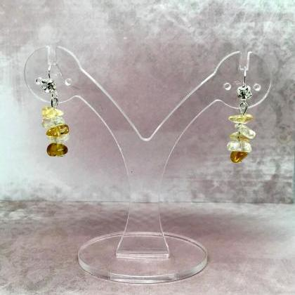 Drop earrings with citrine Quartz a..
