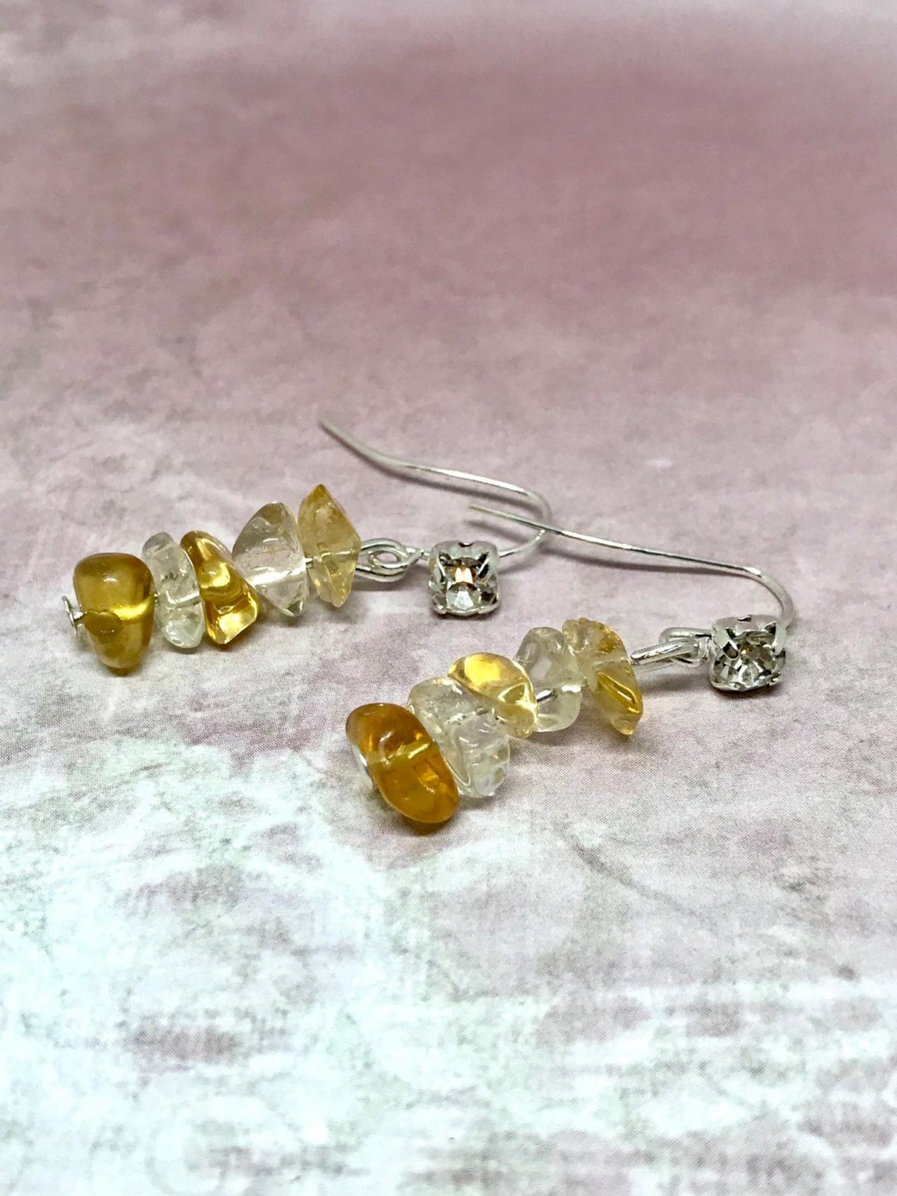 Drop earrings with citrine Quartz and a diamante stone
