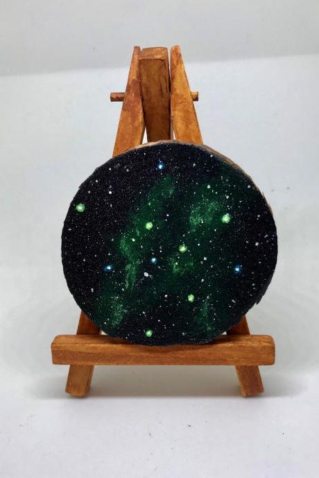Green aurora borealis Deep space galaxy Night Star mini painting on wood slice with easel