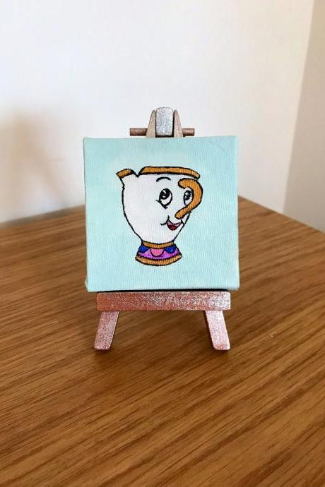 Disney Beauty and the Beast chip mini painting with easel
