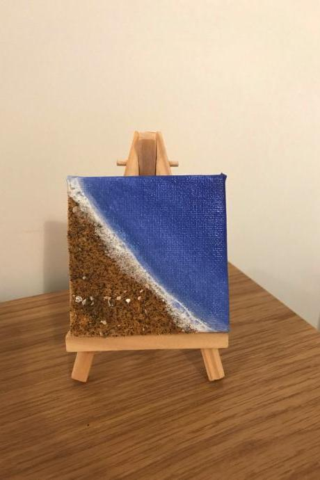 Mini sandy beach painting with easel