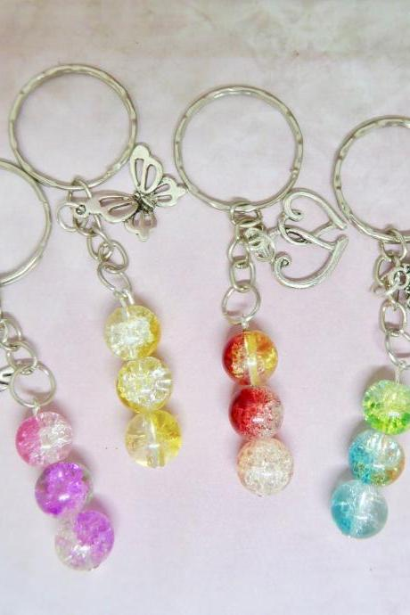 crackle glass beaded keyring keychain