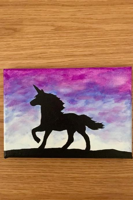 Unicorn sunset painting on canvas