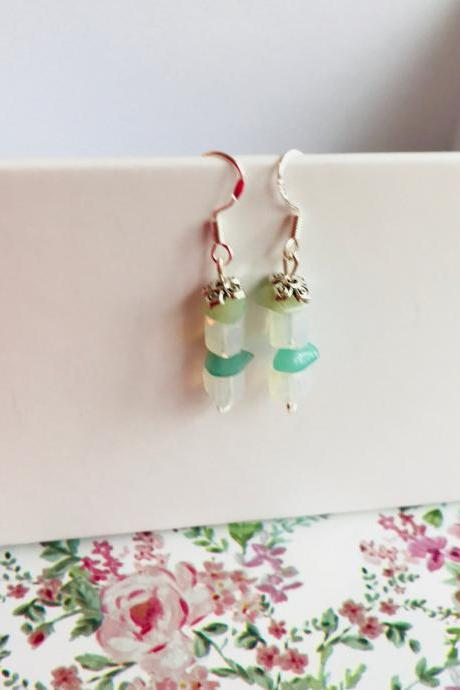 Amazonite and opalite earrings
