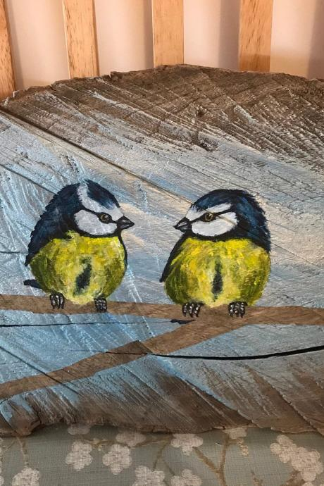 Painted Pair of blue tits on thick drift wood