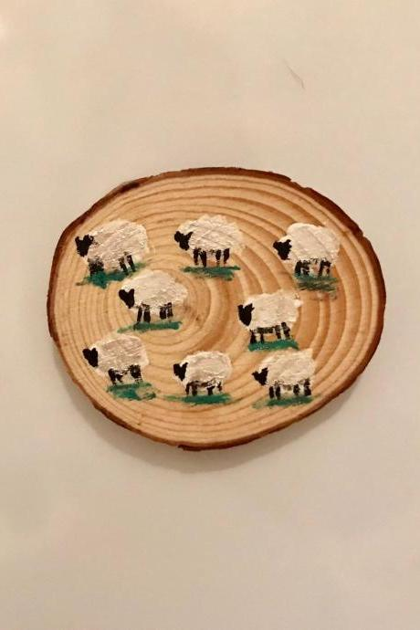 Hand Painted sheep on wood magnet