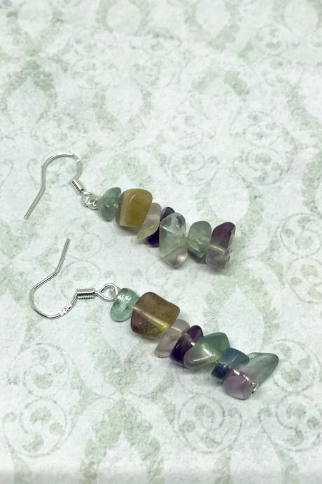 Fluorite multi coloured drop earrings