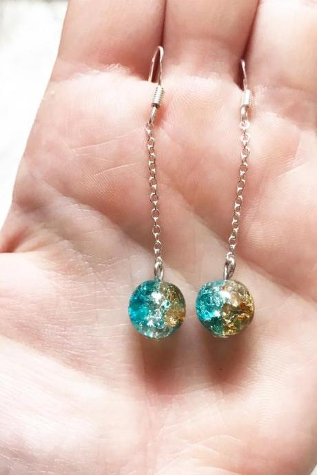 glass crackle bead drop earrings