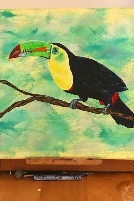 Toucan bird acrylic art painting on canvas