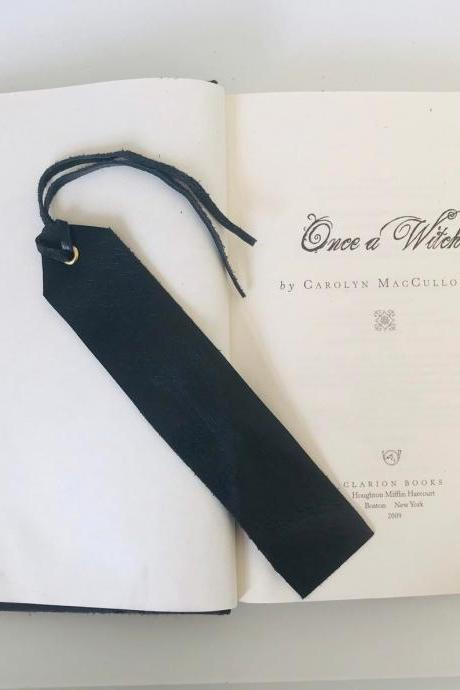 Simple Black leather bookmark