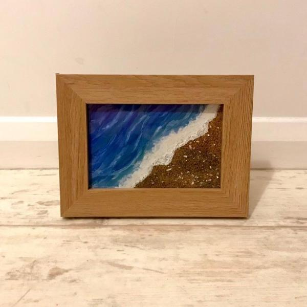 Framed real sand beach painting